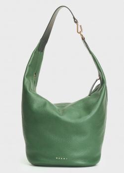 Зеленая сумка-хобо Marni из зернистой кожи, фото