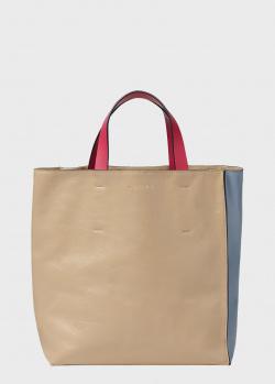 Двухцветная сумка Marni Museo Soft из фактурной кожи, фото