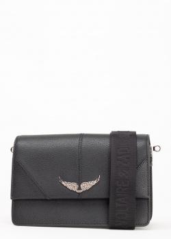 Черная сумка Zadig & Voltaire Lolita Slightly на широком ремне, фото