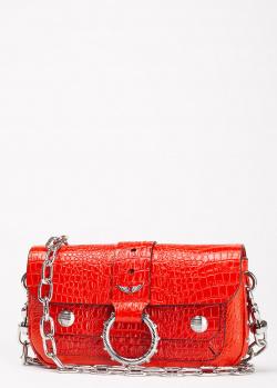 Красный клатч Zadig & Voltaire с тиснением под кожу крокодила, фото