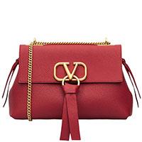 Сумка Valentino Vring из красной кожи с застежкой-логотипом, фото
