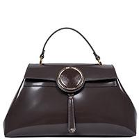 Лаковая сумка Gilda Tonelli темно-серого цвета, фото