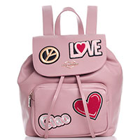 Розовый рюкзак Love Moschino с декором-аппликацией, фото