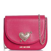 Сумка Love Moschino красного цвета с декором-сердцем со стразами, фото