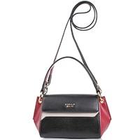 Маленькая кожаная сумка Tosca Blu черная с бордовым и бежевым, фото