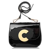 Лаковая сумка Coccinelle Craquante Patent черного цвета, фото