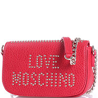 Красная сумка-кроссбоди Love Moschino из крупнозернистой кожи с золотистым декором, фото