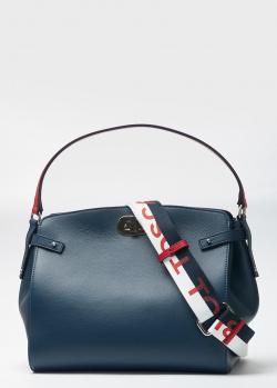 Сумка из кожи Tosca Blu с надписью на плечевом ремне, фото