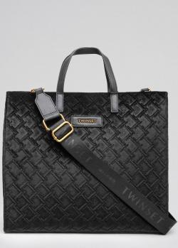 Черная сумка-тоут Twin-Set с тиснением, фото