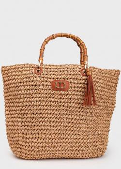 Плетеная сумка Twin-Set с бамбуковыми ручками, фото