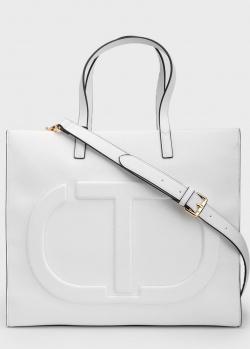 Белая сумка Twin-Set с большим логотипом, фото