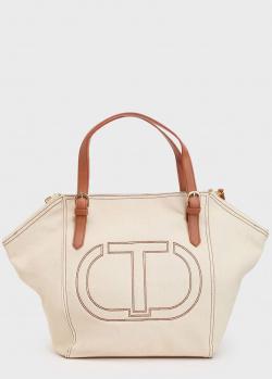 Текстильная сумка Twin-Set с вышитым логотипом, фото
