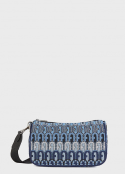 Синяя сумка Furla Moon с фирменным орнаментом, фото