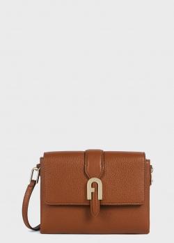 Коричневая сумка Furla Sofia Grainy с брендовым декором, фото