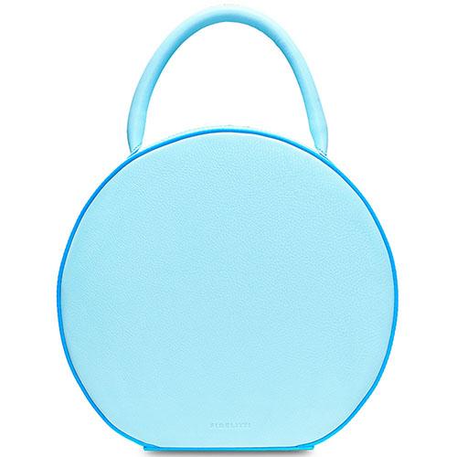 Кожаная сумка Fidelitti Tondo box-style голубая, фото