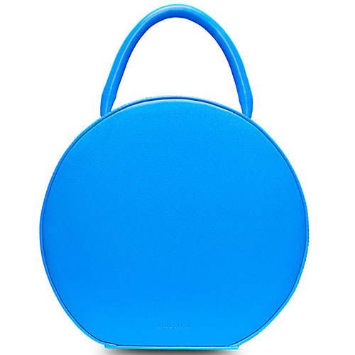 Кожаная сумка Fidelitti Tondo box-style синяя, фото