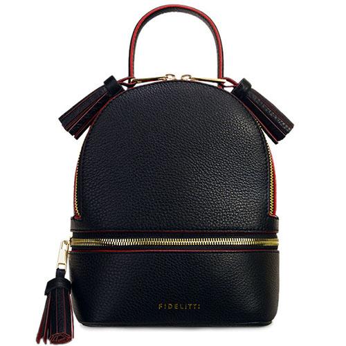 Кожаный рюкзак Fidelitti Salerno mini черного цвета с красной окантовкой, фото