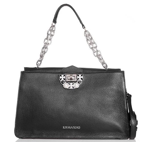 Черная сумка Ermanno Scervino Diamante с декором из камней , фото