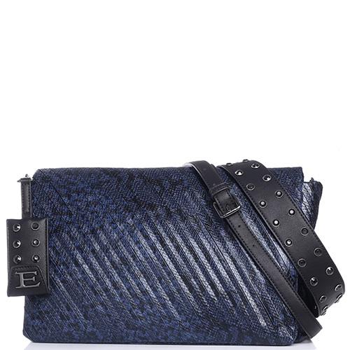 b7821363aee8 ☆ Синяя сумка Ermanno Scervino Dora с принтом под рептилию купить в ...