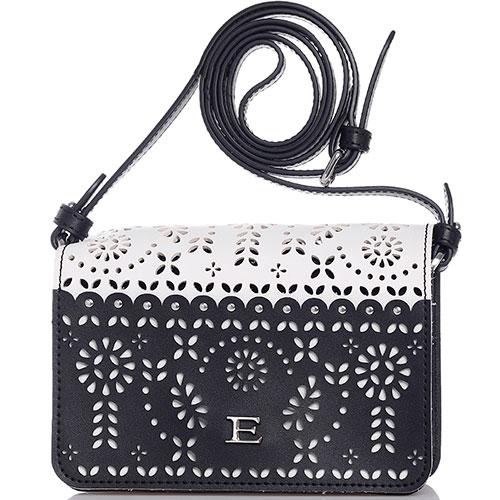 Черно-белая мини-сумка Ermanno Scervino Estella с резным узором, фото