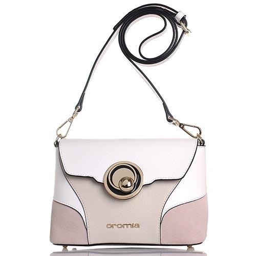 Бежевая сумка Cromia Stella из кожи с белыми элементами, фото