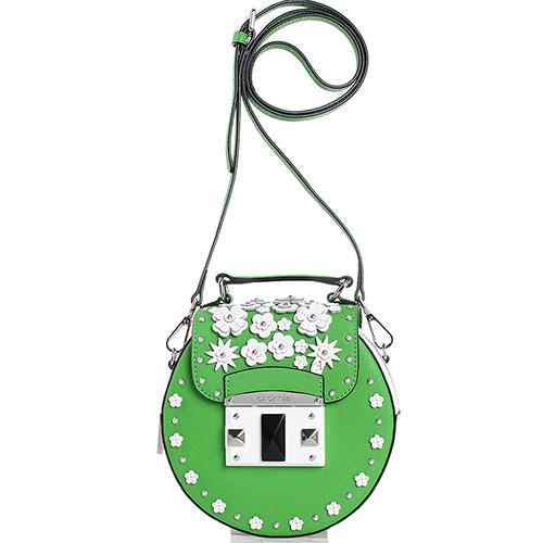 5b311f8892a7 ☆ Зеленая сумка-таблетка Cromia It Flower с аппликацией купить в ...