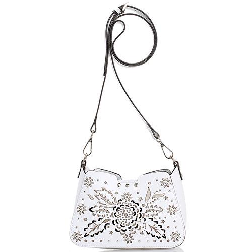 7827f8856765 ☆ Маленькая белая сумка Cromia Jungle с декоративной перфорацией ...