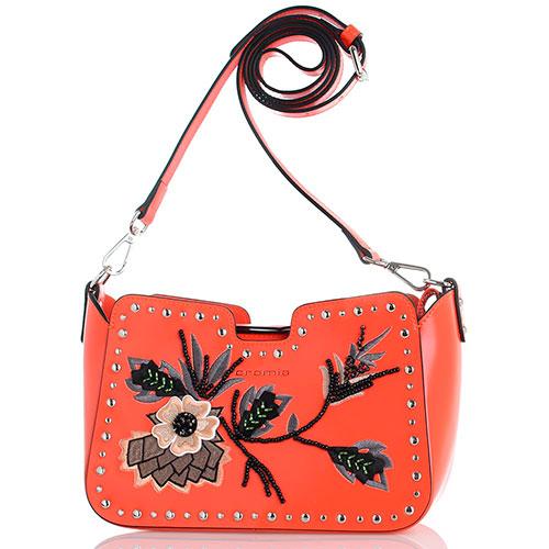 Оранжевая сумка Cromia Rio с флористической вышивкой, фото