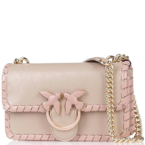 Сумка флеп-бег Pinko Mini Love Bag бежевого цвета, фото