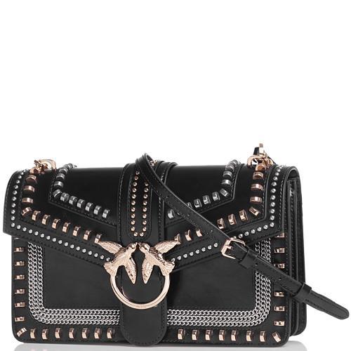 Женская сумка флеп-бег Pinko с заклепками в черном цвете, фото