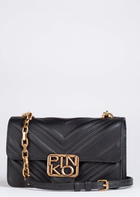 Стеганая сумка Pinko Mini Logo Bag Icon Chevron на цепочке, фото