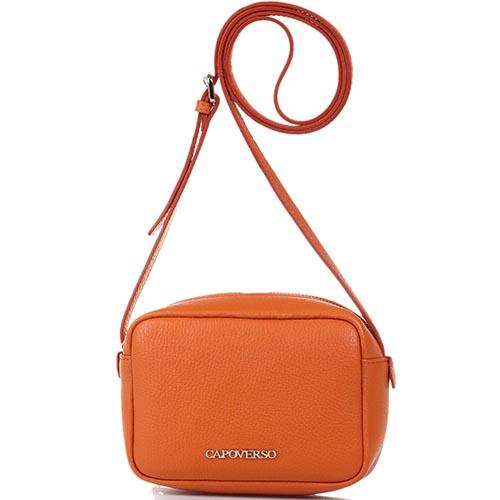 Маленькая сумочка Capoverso из зернистой кожи оранжевого цвета, фото