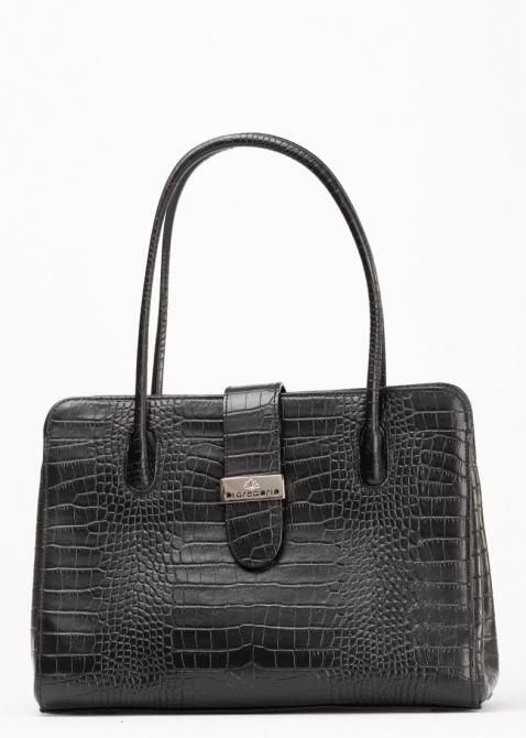 Черная сумка Di Gregorio с тиснением кроко, фото