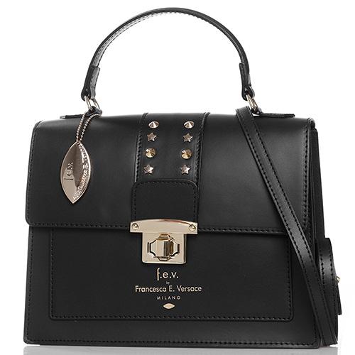 Черная сумка Francesca E.Versace с декором на клапане, фото