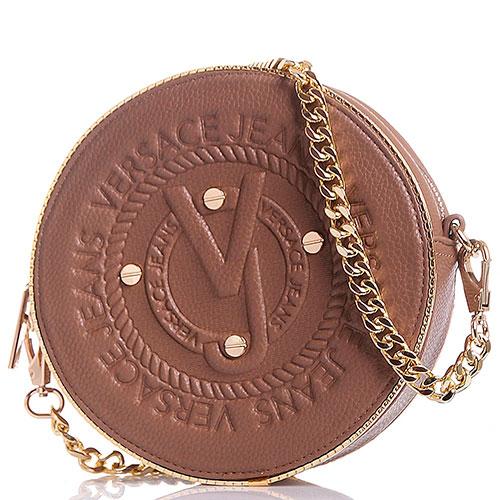 867f8749c5d5 Сумка круглой формы с фирменным тиснением Versace Jeans бежевого цвета, фото