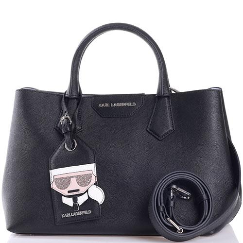 Черная сумка Karl Lagerfeld со съемным брелком, фото