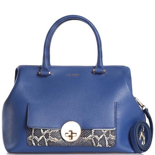 eb5510c656ec Синяя сумка Gilda Tonelli со вставками с имитацией кожи питона, фото