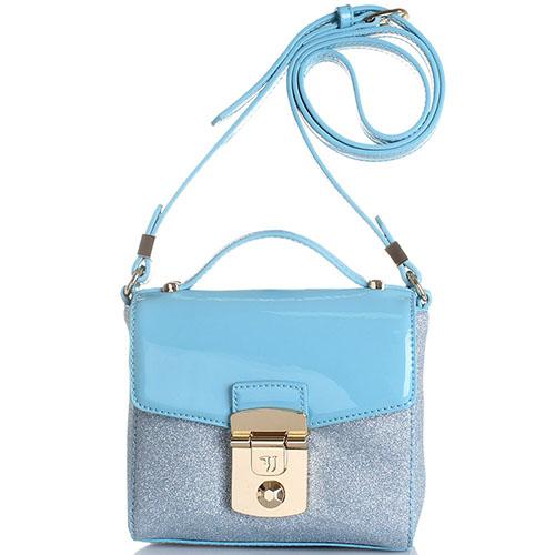 Голубая сумка Trussardi Jeans с лаковой вставкой и глиттером, фото