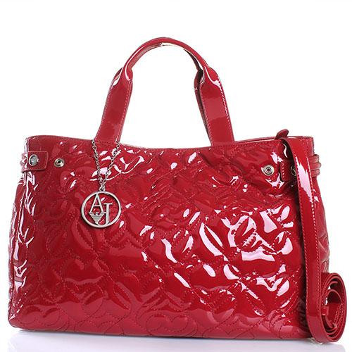 1a6d1747cf26 ☆ Лаковая сумка с декоративной стежкой Armani Jeans бордового цвета ...