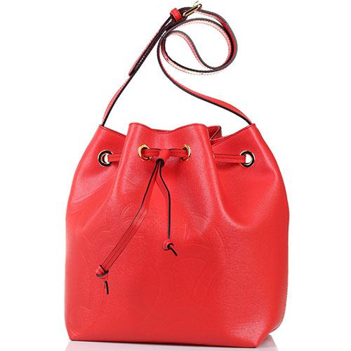 017967a747cc ☆ Сумка-мешок Braccialini красного цвета с тиснением Сафьяно купить ...