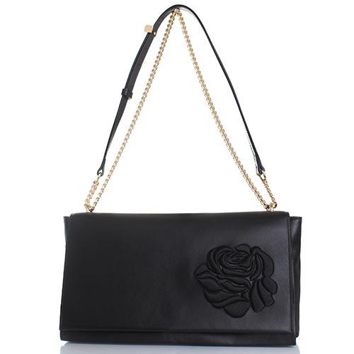 Сумка Blumarine Cecile из кожи черного цвета с вышивкой в виде розы, фото