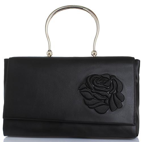348b1f26d6d6 Черная сумка-тоут Blumarine Cecile из кожи с вышивкой в виде розы, фото