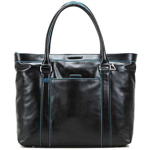 Деловая сумка Piquadro Blue square кожаная черная с органайзером и отделением для ноутбука и iPad, фото