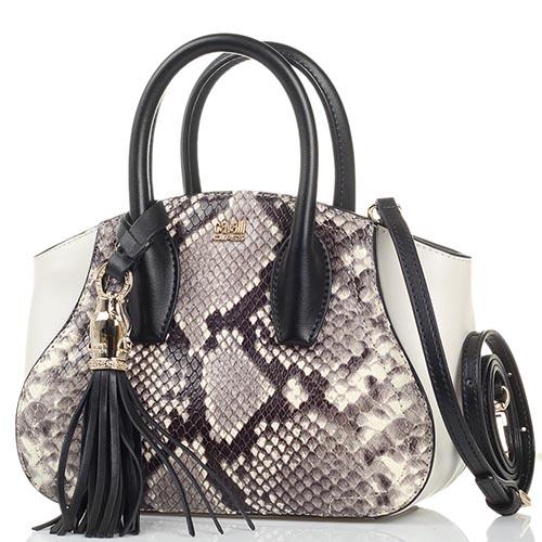 dc9b59303325 Маленькая сумка Cavalli Class Daphne Python из кожи серого цвета с  имитацией кожи питона и съемным