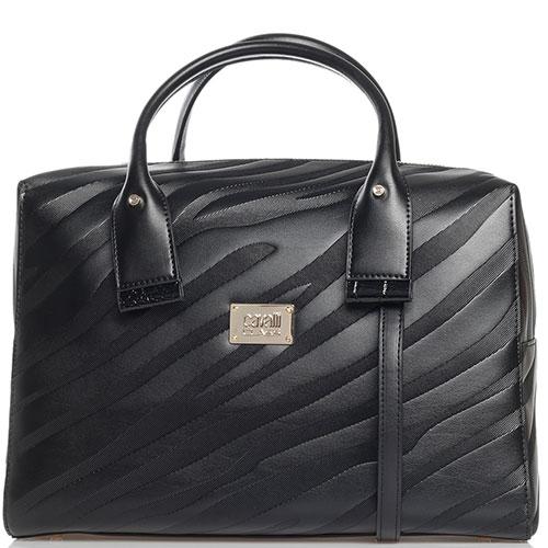 Черная сумка Cavalli Class Elda с фирменной шильдой, фото