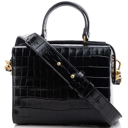 Черная сумка Coccinelle Ermitage Croco с тиснением кроко, фото