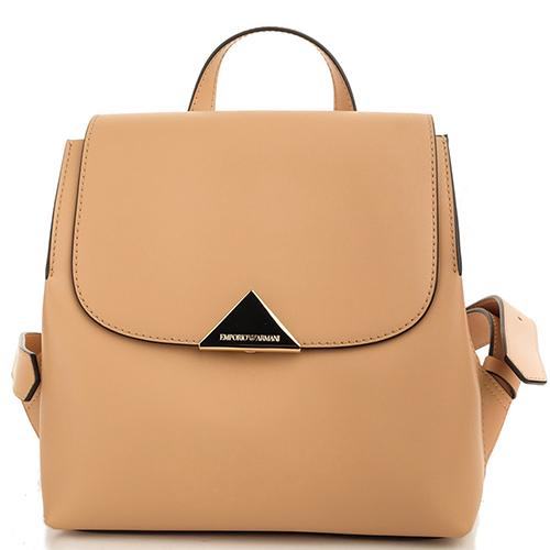 Бежевый рюкзак Emporio Armani с брендовым декором, фото