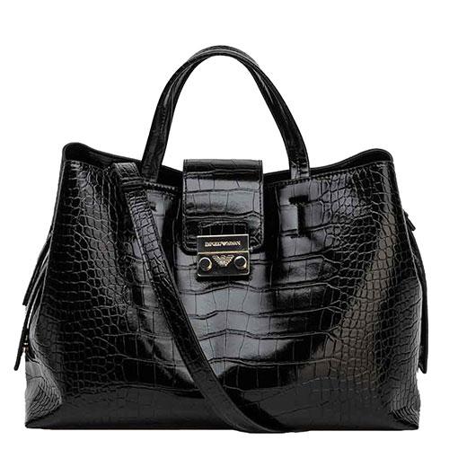 Черная лаковая сумка Emporio Armani с принтом под рептилию, фото