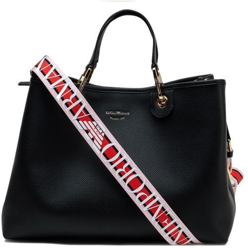 Черная сумка Emporio Armani на широком ремне, фото