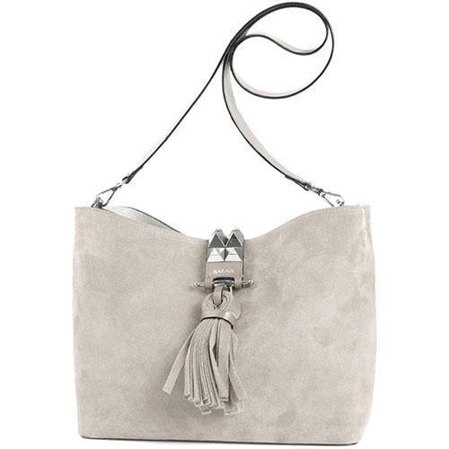 Замшевая сумка-шоппер бежевого цвета Salar Bonnie с декором из металлических шипов и кисточки, фото